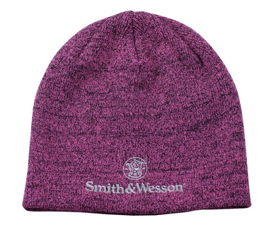 Smith and Wesson Ladies Logo Beanie Hat in Black and Pink - tractorup2