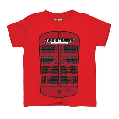 Farmall Grill Toddler Short Sleeved T-Shirt in Red - tractorup2