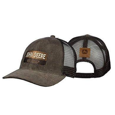 John Deere Established 1837 Corduroy Hat, Brown w/Mesh - tractorup2