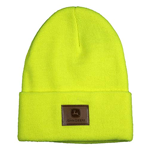 John Deere Leather Patch Beanie-High Visibility Yellow