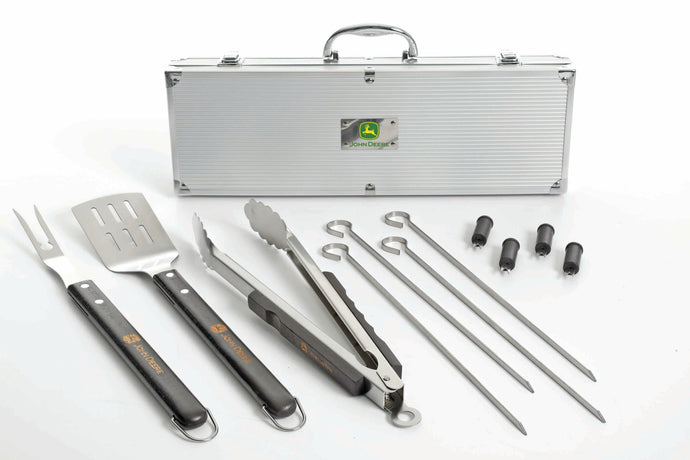 John Deere 12-Piece BBQ Tools Set with Aluminum Case