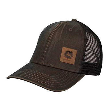 John Deere Oil Coated Soft Mesh Hat W/Sueded Patch, Brown - tractorup2