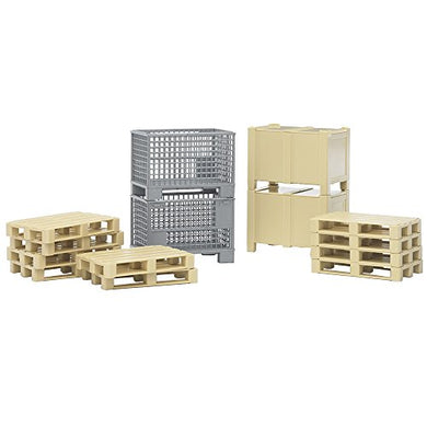 Bruder Logistics Set with Pallets, Warehouse and Forklift Crates, 14 Piece Set