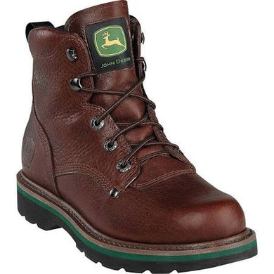 John Deere Men's Brown Walnut Non Steel Toe Lace Up Leather Boots - tractorup2