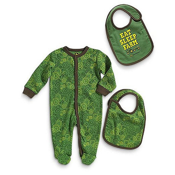 John Deere Baby Eat, Sleep, Farm Coverall and Bib Set