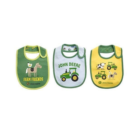 John Deere Baby Boys' 3-Pack Farm Friends Bibs