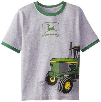 John Deere Little Boys Short Sleeved Wrap Tractor Tee - tractorup2