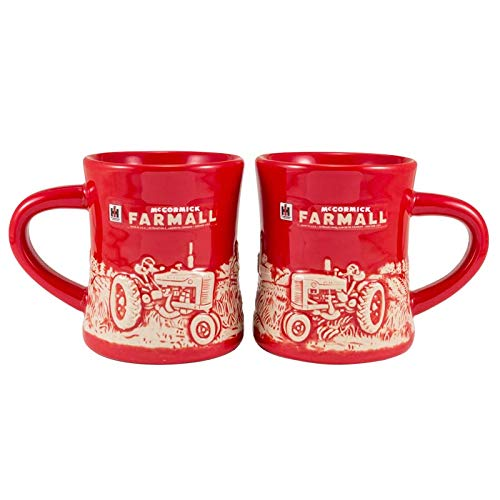 Farmall M Raised-Relief Red Mug - tractorup2