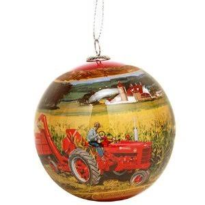 Tractor Scene Ornament, Features Two Farmall Tractor Scenes