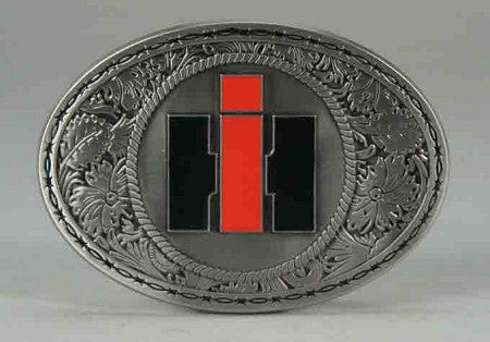 Case IH Western Style Logo Pewter Belt Buckle