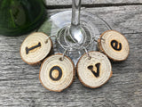 LOVE - Wood Slice Wine Charms - LOVE