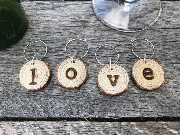 Wood Slice Wine Charms - LOVE