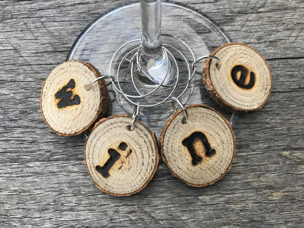 Wood Slice Wine Charms - WINE