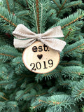 Love Established 2019 Wood-burned, Tree Slice Ornament - Burlap Riboon