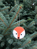 Fox Tree Slice Ornament