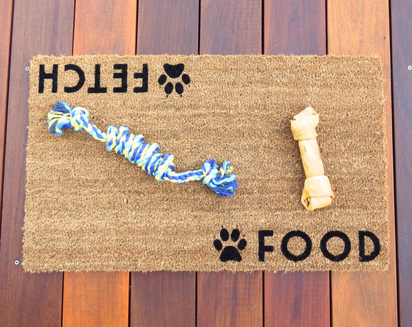 Food / Fetch, Dog Door Mat (doormat) - Dog Decor, Dog Owners, Dog Lover, Puppies, Puppy, Pet Gift