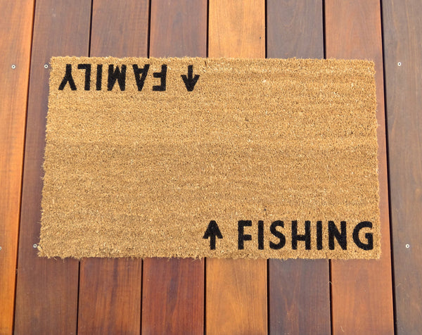 Family / Fishing Door Mat (doormat) - Lake House, Lake, Fishing, Fisherman