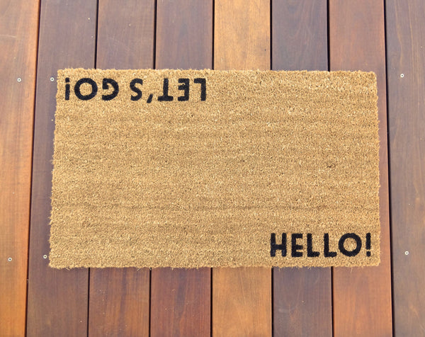 Hello! / Let's Go! Door Mat ©