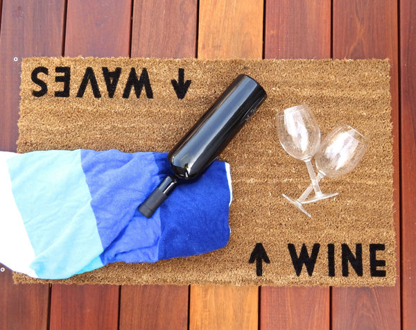 Wine / Waves Door Mat (doormat) - Beach Cottage Decor, Wine Gift, Wine Lovers, Beach House, Vacation Rental, Winery