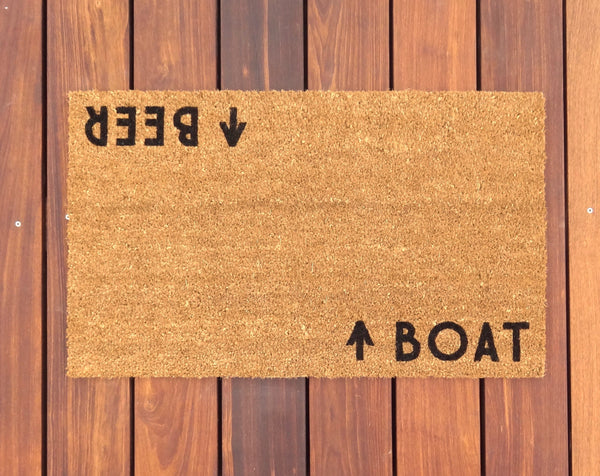 Boat / Beer Door Mat (doormat) - Lake House, Beach House, Boating