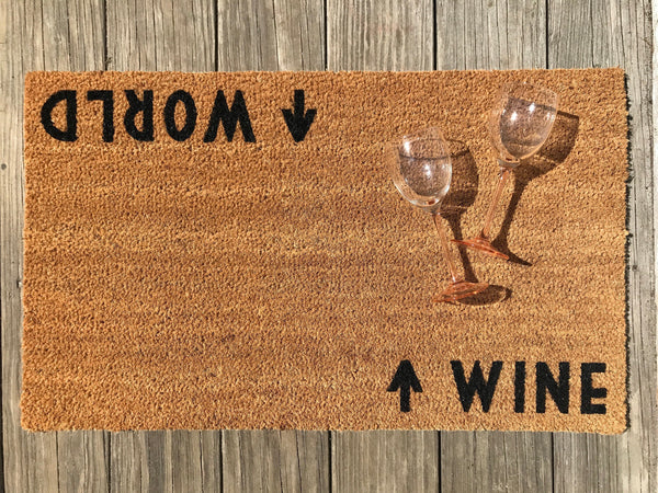 Wine / World Door Mat (doormat) - Perfect Housewarming Gift, Wine Lover, World Traveler
