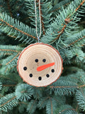 Natural Snowman Tree Slice Ornament