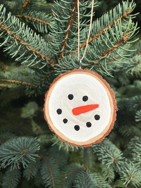 White Snowman Tree Slice Ornament