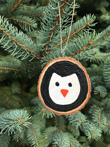 Penguin Tree Slice Ornament