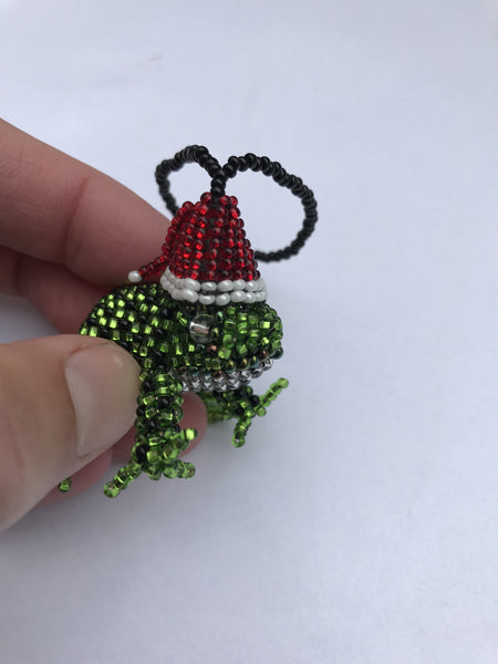 Beaded Frog (with Santa Hat) Ornament - Handmade in Guatemala - Christmas