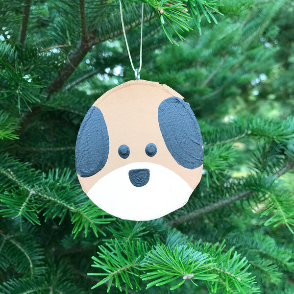Dog Tree Slice Ornament
