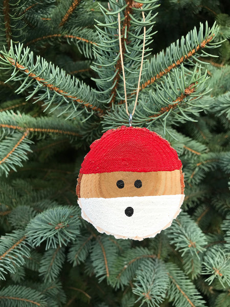 Santa Tree Slice Ornament