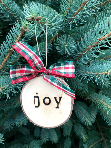 JOY Wood-burned Tree Slice Christmas Ornament
