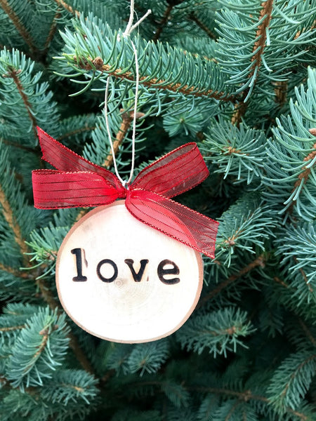LOVE Wood-burned Tree Slice Christmas Ornament