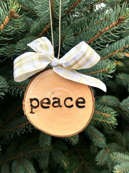 PEACE Wood-burned Tree Slice Christmas Ornament