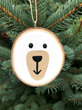 Polar Bear Tree Slice Ornament
