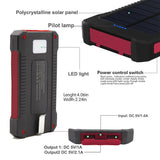 Deluxe Rugged Waterproof Solar Powered Cell Phone Charger 10000mah Dual-USB