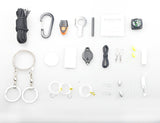 Deluxe Carabiner Paracord Emergency Survival Kit Pod (25+ pieces)