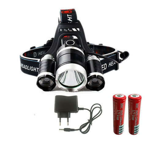 Deluxe Triple-Bright 9000 Lumen T6 LED Headlamp With Comfort-Fit