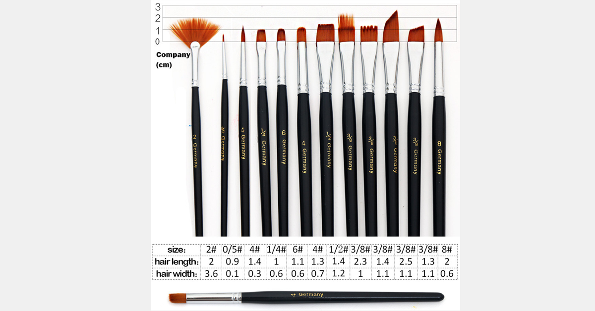 12 Piece Nylon Paint Brush Set