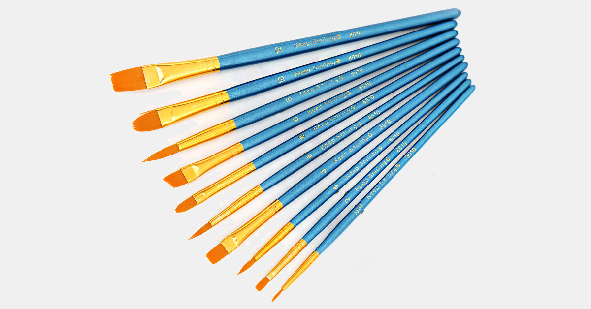 Nylon Paint Brush Set - 10 Pieces