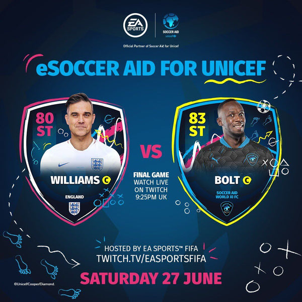 Robbie vs Usain Bolt: eSoccer Aid for Unicef