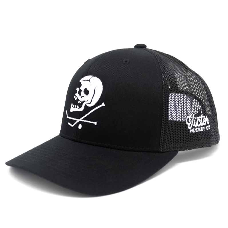hat cap trucker mesh snapback curved bill black skull crossbones crossed hockey sticks puck skeleton embroidered 3d puff