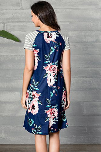 2480a6f0178e2 Women s Floral Print Casual Short Sleeve A-line Loose T-shirt Dresses Knee  Length