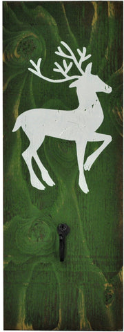 JD Green/White Reindeer Stocking Holder