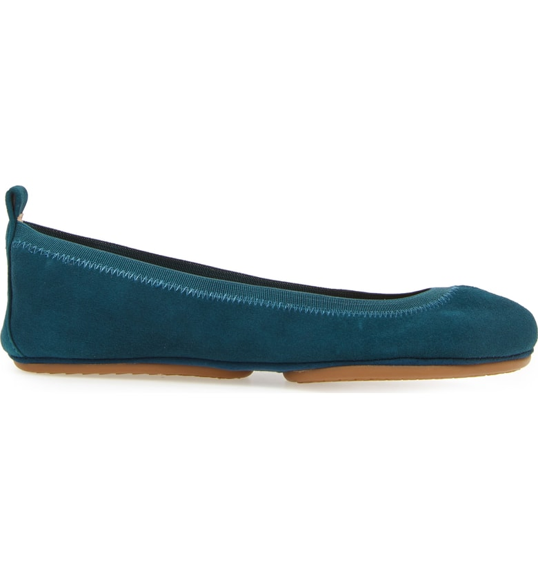 yosi samra teal blue green suede leather foldable ballet flat