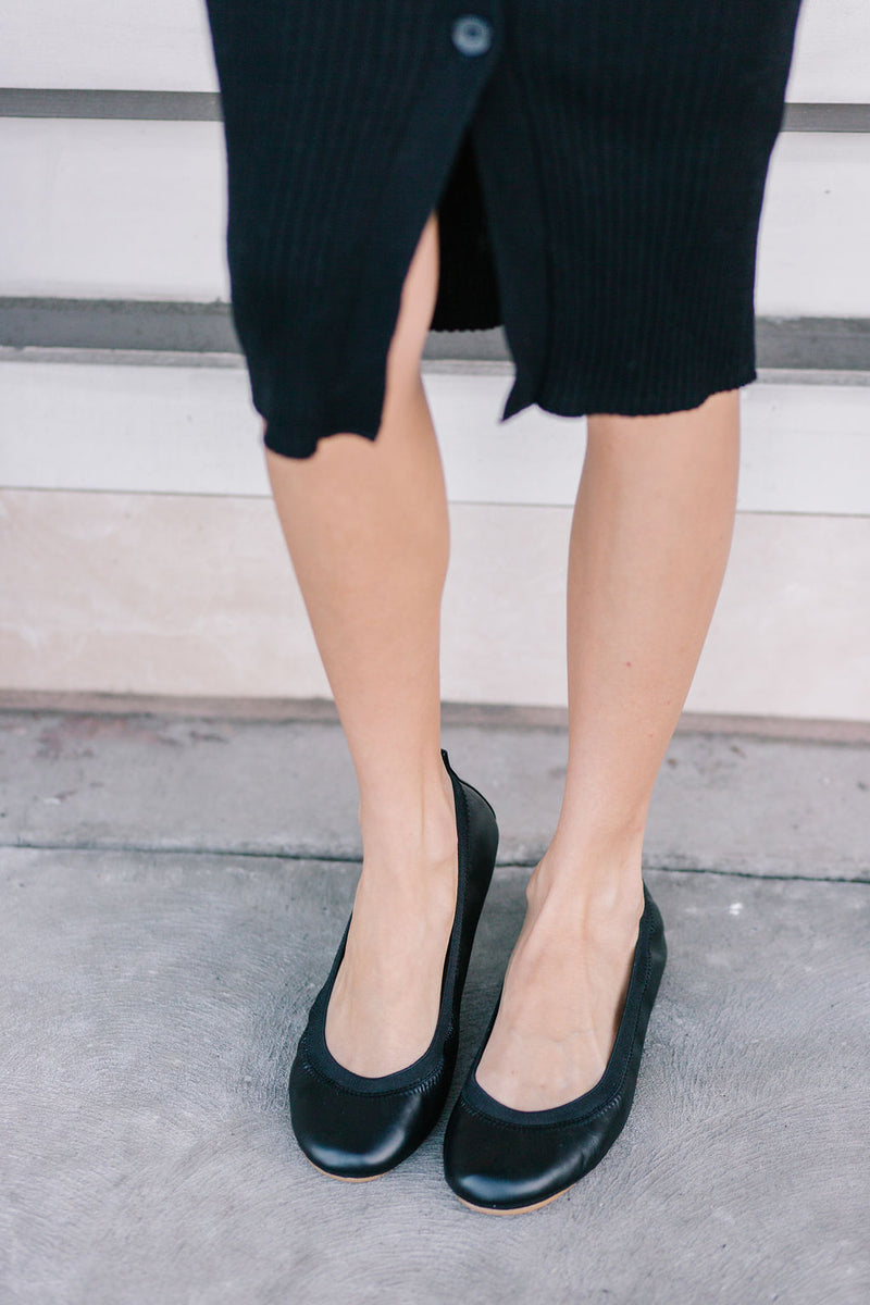 Samara Black Vegan Leather Ballet Flat