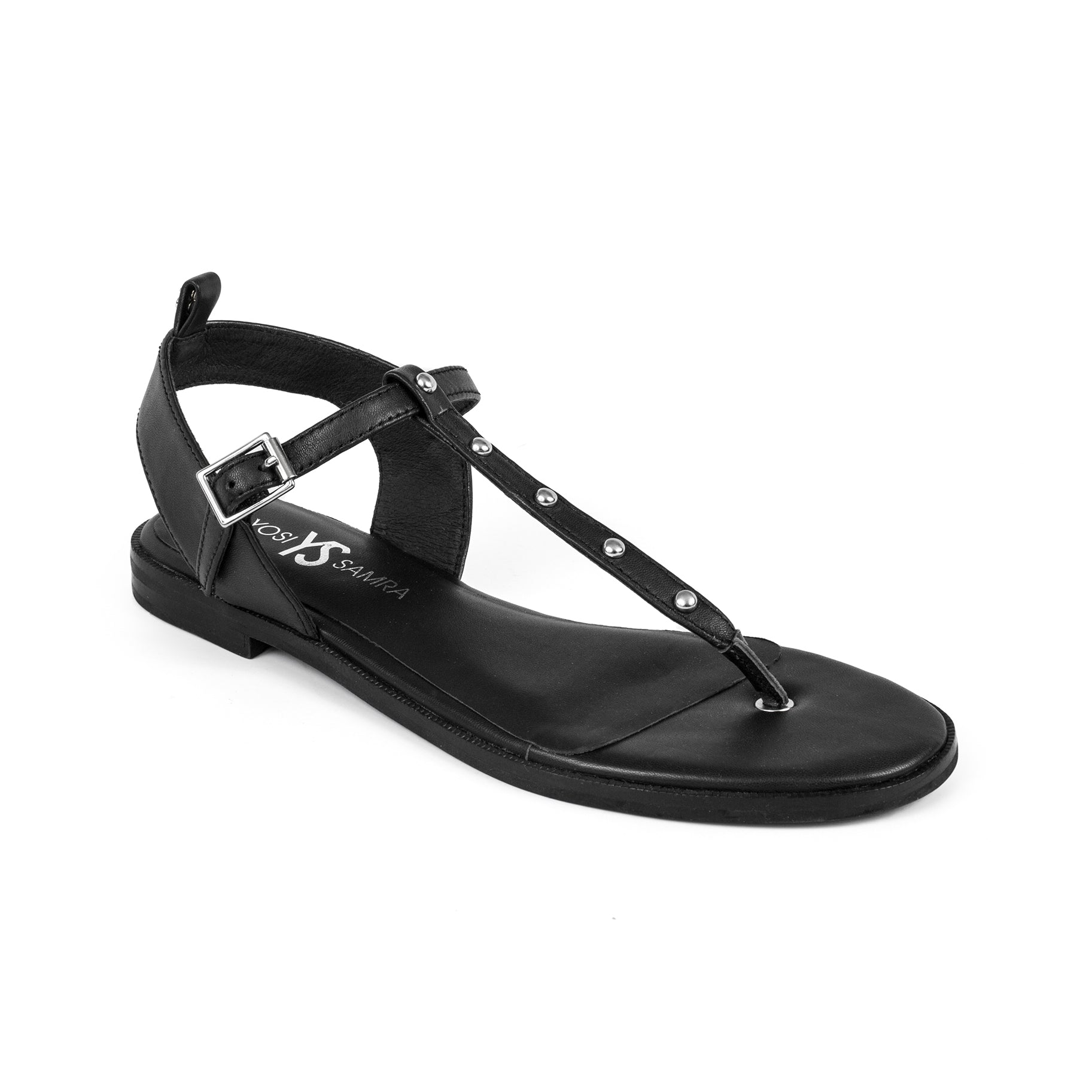 Calliste Black Leather Studded Sandal