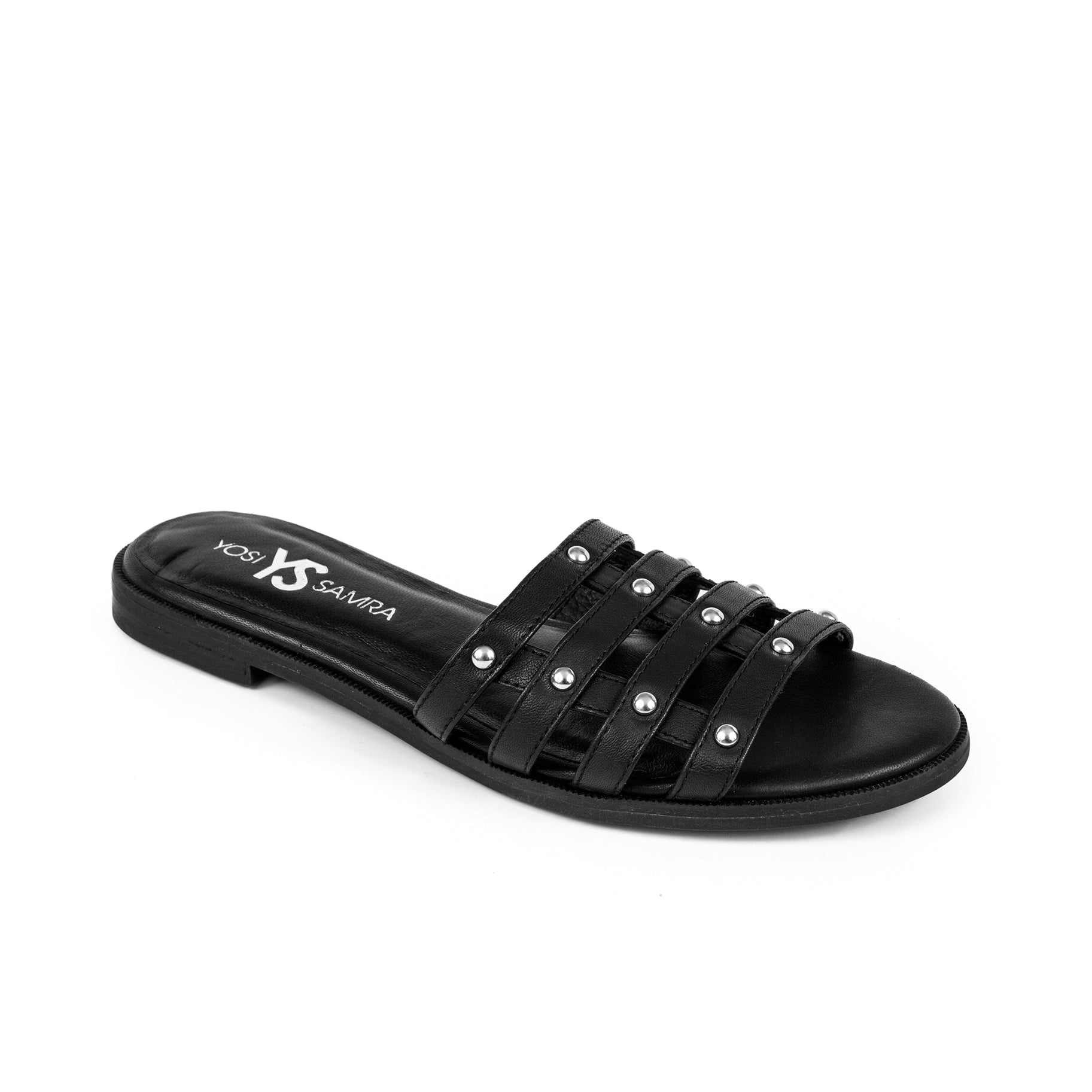 Yosi Samra Leather Slide Sandal Black Studs