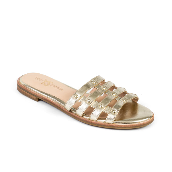 Yosi Samra Leather Slide Sandal Gold Studs
