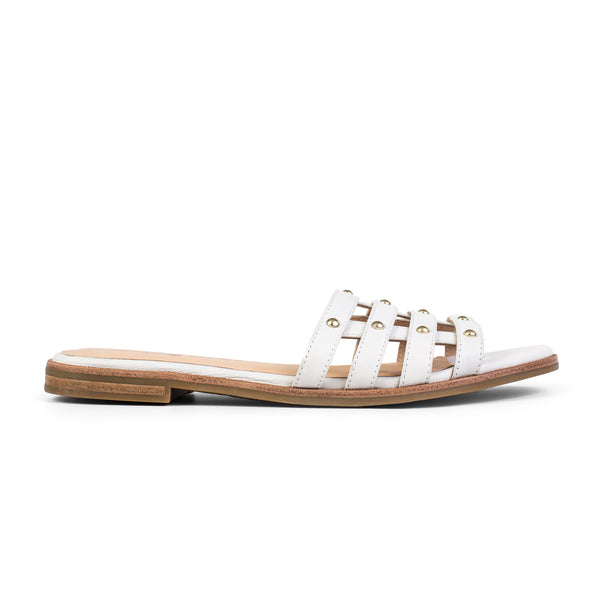 Yosi Samra Leather Slide Sandal White Studs